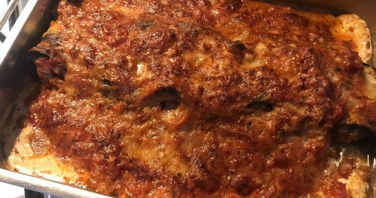 Auberginerolletjes met lamsgehakt en zoete aardappel is een geweldige combinatie!