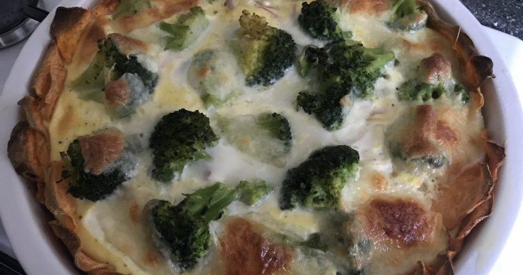 Groenten quiche van broccoli en zoete aardappel