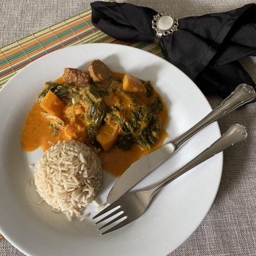 curry met pompoen en spinazie